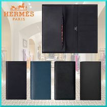 HERMES Unisex Calfskin Plain Long Wallets