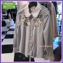 kate spade new york BROOME STREET LABEL Stripes Flower Patterns Long Sleeves Cotton Shirts & Blouses