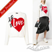 Dolce & Gabbana Crew Neck Heart Casual Style Cashmere Long Sleeves Medium