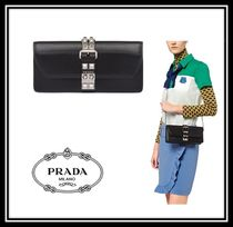 PRADA ELEKTRA Casual Style Calfskin Studded 2WAY Chain Plain Clutches