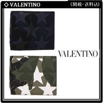 VALENTINO Camouflage Studded Leather Folding Wallets