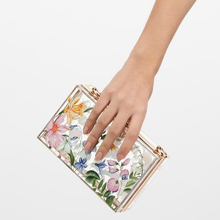 Flower Patterns Party Style Crystal Clear Bags Clutches