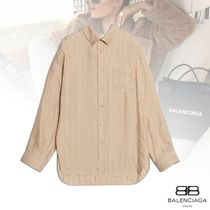 BALENCIAGA Stripes Silk Long Sleeves Shirts & Blouses