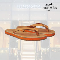 HERMES Open Toe Rubber Sole Casual Style Blended Fabrics