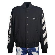 Off-White Short Wool Street Style Plain Varsity Jackets