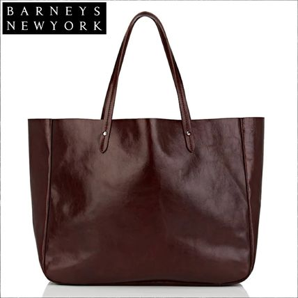 Unisex Street Style A4 Plain Leather Office Style Totes