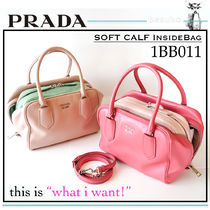 PRADA Bag in Bag Plain Leather Elegant Style Crossbody Handbags