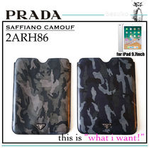 PRADA SAFFIANO LUX Camouflage Unisex Leather Smart Phone Cases