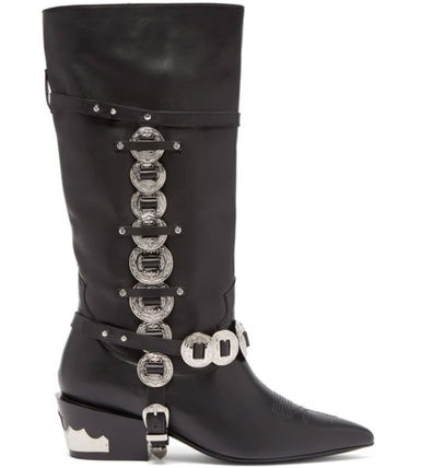 Cowboy Boots Casual Style Studded Leather Block Heels
