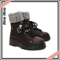 MiuMiu Platform Round Toe Plain Leather Ankle & Booties Boots