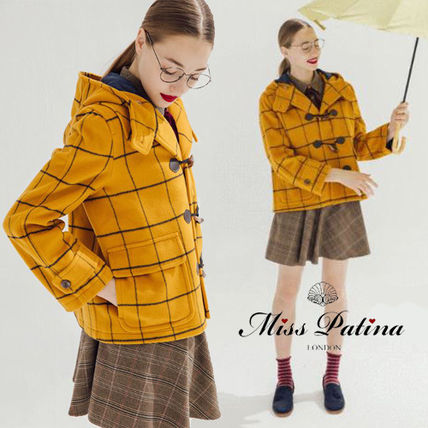 Short Other Check Patterns Casual Style Wool Duffle Coats