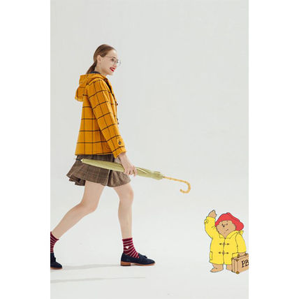 Miss Patina Short Other Plaid Patterns Casual Style Wool Duffle Coats