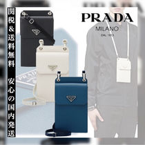 PRADA Unisex Plain Leather Smart Phone Cases