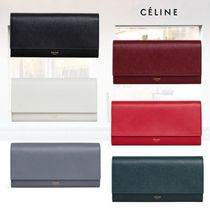 CELINE Calfskin Plain Bold Long Wallets