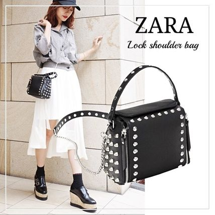 Casual Style Faux Fur Studded Street Style 2WAY Chain Plain