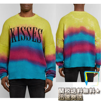 Crew Neck Tie-dye Long Sleeves Cotton Knits & Sweaters