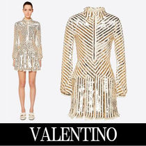 VALENTINO Short Bi-color Long Sleeves Party Style Shirt Dresses