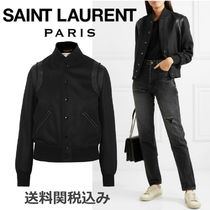 Saint Laurent Wool Blended Fabrics Plain Elegant Style Jackets