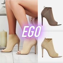 EGO Open Toe Plain Pin Heels Elegant Style Ankle & Booties Boots