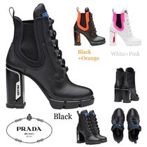 PRADA Plain Toe Casual Style Bi-color Plain Leather Block Heels