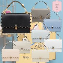 FENDI KAN I Calfskin Studded 3WAY Chain Plain Elegant Style