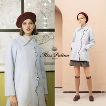 Miss Patina Short Casual Style Wool Plain Other Animal Patterns Coats
