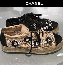 CHANEL Flower Patterns Platform Round Toe Blended Fabrics