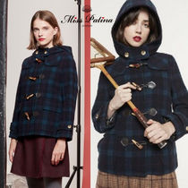 Miss Patina Short Tartan Casual Style Wool Duffle Coats