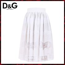 Dolce & Gabbana Flared Skirts Plain Cotton Medium Elegant Style Midi Skirts