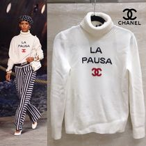 CHANEL ICON Crew Neck Cashmere Long Sleeves Plain Medium Cashmere