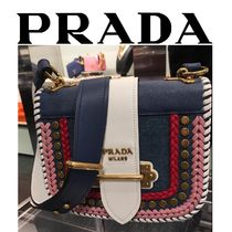 PRADA PIONNIERE Casual Style Studded Chain Leather Shoulder Bags