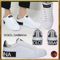Dolce & Gabbana Round Toe Rubber Sole Lace-up Casual Style Leather