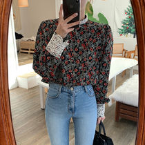 Flower Patterns Casual Style Puffed Sleeves Long