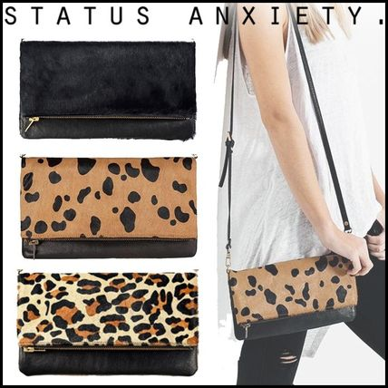 Leopard Patterns Blended Fabrics 2WAY Plain Leather