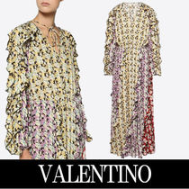 VALENTINO Flower Patterns Casual Style Maxi V-Neck Long Sleeves Long
