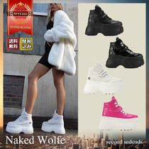 Naked Wolfe Platform Round Toe Lace-up Casual Style Street Style Plain