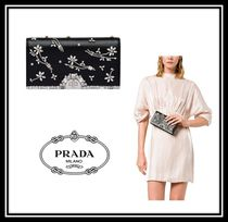PRADA 2WAY Chain Plain Leather Party Style With Jewels Clutches