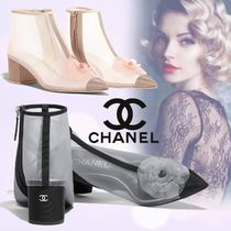 CHANEL Plain Chunky Heels Ankle & Booties Boots