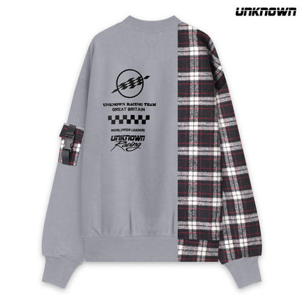 Crew Neck Other Check Patterns Unisex Street Style