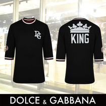 Dolce & Gabbana Crew Neck Stripes Street Style Cotton Short Sleeves