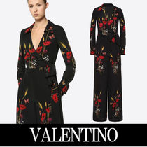 VALENTINO Dungarees Flower Patterns Silk V-Neck Long Sleeves Long