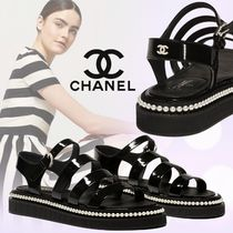 CHANEL Plain Leather Sandals