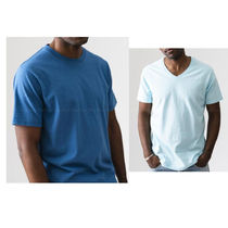Ron Herman V-Neck Plain Cotton Short Sleeves Surf Style V-Neck T-Shirts