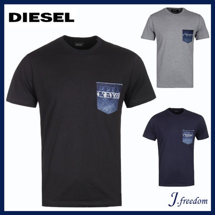 DIESEL More T-Shirts Street Style U-Neck Plain Cotton Short Sleeves T-Shirts