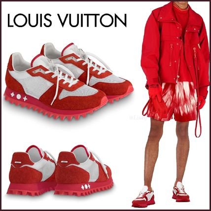 Louis Vuitton Sneakers Blended Fabrics Street Style Bi-color Plain Leather Sneakers