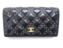 CHANEL ICON Argile Calfskin Studded Long Wallets