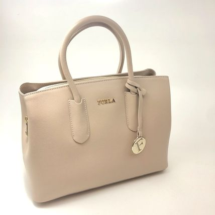 FURLA Saffiano 2WAY Plain Leather Crossbody Handbags