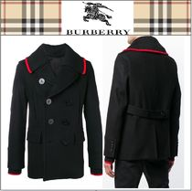 Burberry Short Cashmere Plain Peacoats Coats