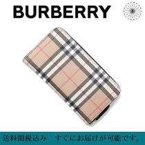 Burberry Other Check Patterns Unisex Blended Fabrics Leather