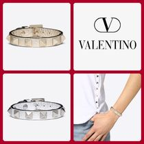 VALENTINO Casual Style Blended Fabrics Studded Leather Bracelets